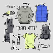 Set of men's casual wear sketches