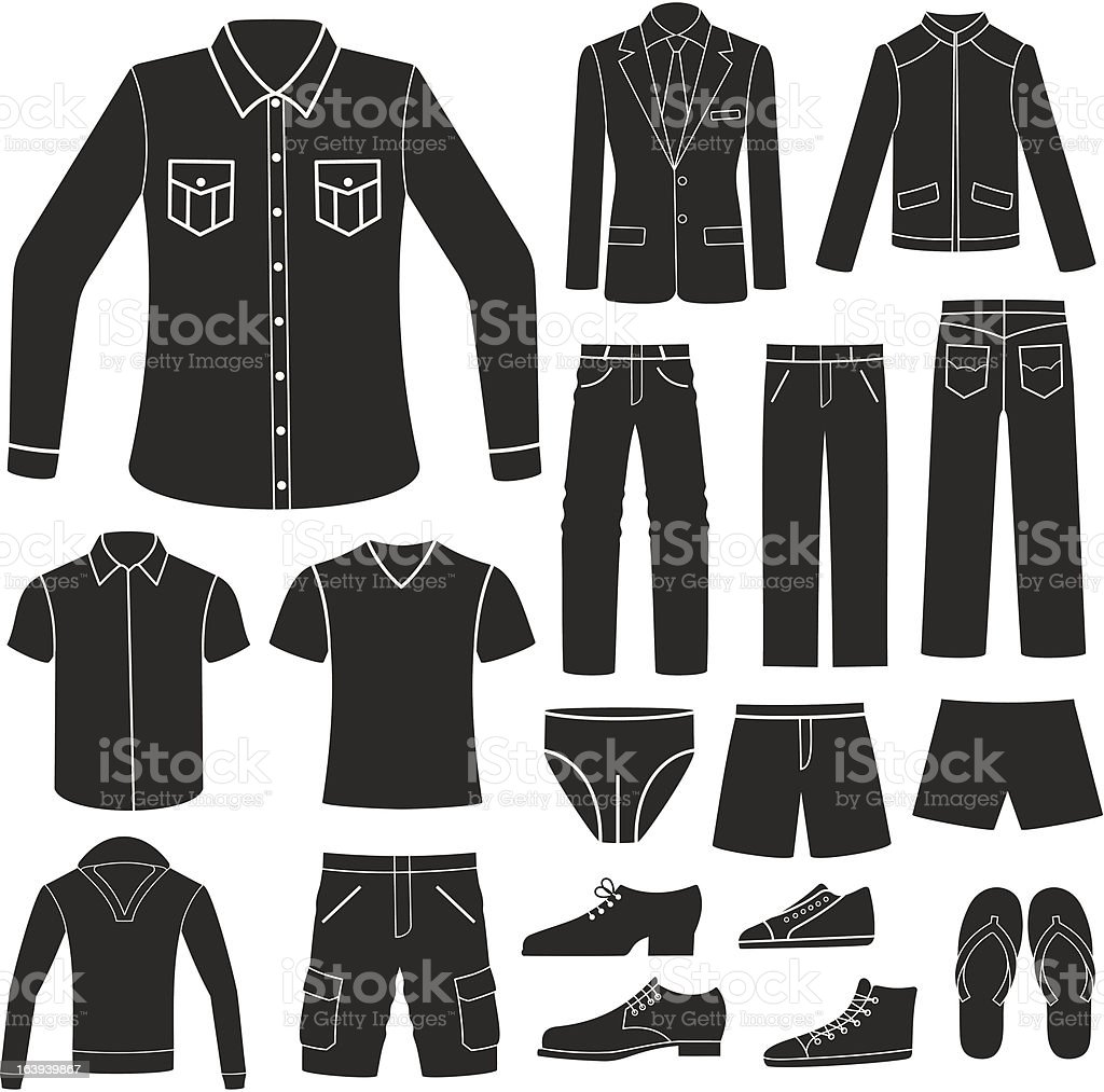 Set of Men's Clothing. vector art illustration