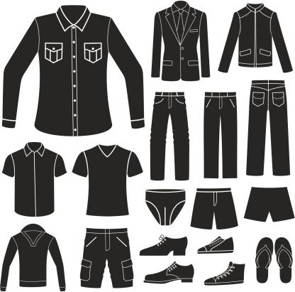 Set of Men's Clothing. vector art illustration