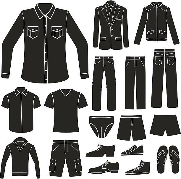set of men's clothing. - mens fashion stock illustrations, clip art, cartoons, & icons