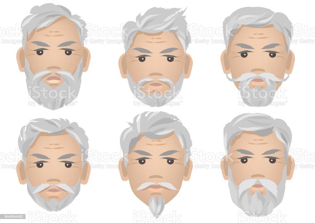 Satz Von Manner Gesichter Mit Grauen Haaren Und Verschiedene