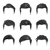 Vector set of men's hairstyle. High resolution JPG, PNG (transparent background) and AI files are included.