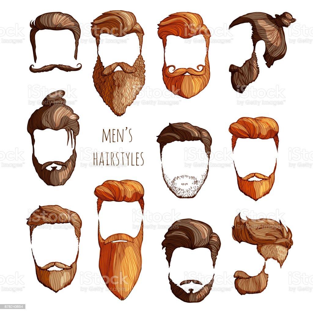 Conjunto de homens penteados, bigodes e barbas. Esboço desenhado à mão. Ilustração em vetor. - Vetor de Adulto royalty-free
