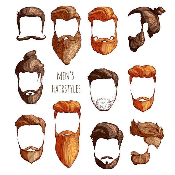 ilustraciones, imágenes clip art, dibujos animados e iconos de stock de juego de peinados, bigotes y barbas de los hombres. boceto dibujado a mano. ilustración de vector. - peinado