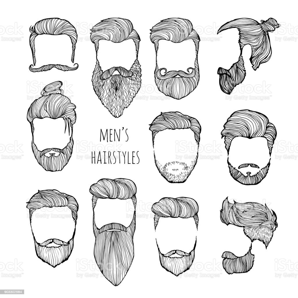 Set Of Mens Hairstyles Mustaches And Beards Handdrawn Sketch