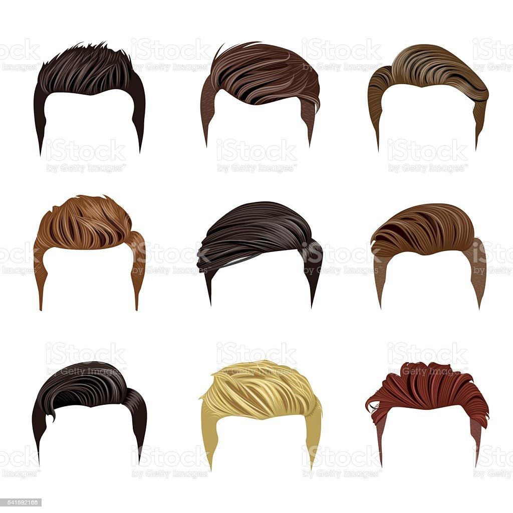 Set of Men's Hairstyles vector art illustration