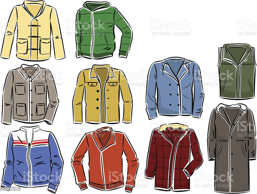 Set of men's jackets royalty-free set of mens jackets stock vector art & more images of autumn