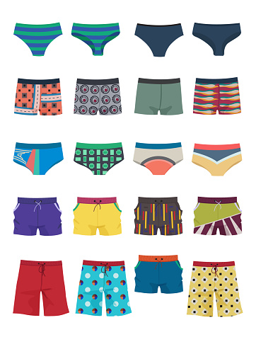 A set of men's swimming trunks and shorts