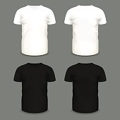Set of men's white and black t-shirts in front and back views.