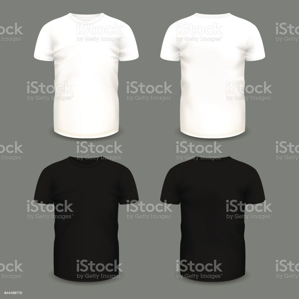 Set of men's white and black t-shirts in front and back views. vector art illustration
