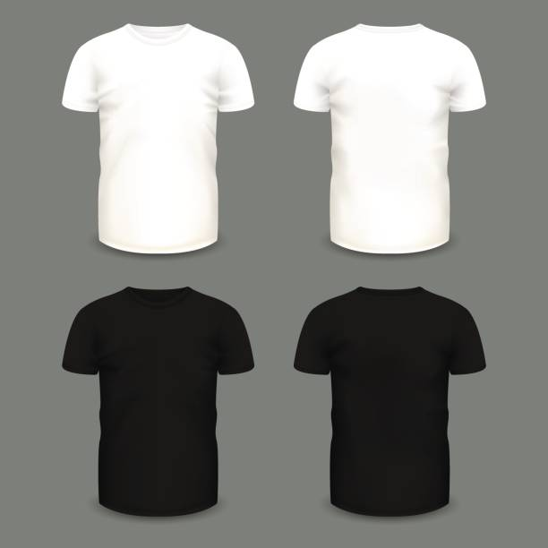 ilustrações de stock, clip art, desenhos animados e ícones de set of men's white and black t-shirts in front and back views. - teeshirt template