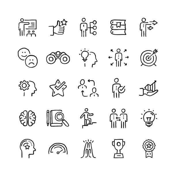 ilustraciones, imágenes clip art, dibujos animados e iconos de stock de conjunto de objetos y elementos relacionados con mentoring y training. colección de ilustraciones de garabatos vectoriales dibujadas a mano. conjunto de iconos dibujados a mano. - training