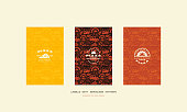 Set of menu cover, label and seamless pattern for pizzeria. Various colors background