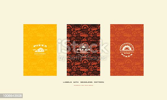 Set of menu cover and seamless pattern for pizzeria