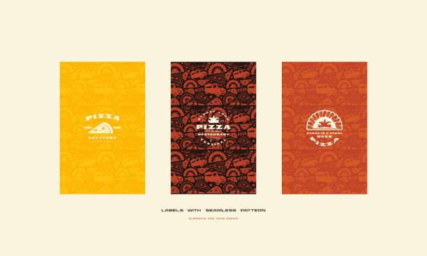 メニューの表紙に、ピザのためのシームレスなパターンのセット - パン屋点のイラスト素材/クリップアート素材/マンガ素材/アイコン素材