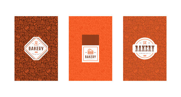 Set of menu cover, label and seamless pattern for bakery Set of menu cover, label and seamless pattern for bakery. Design elements in thin line style bread backgrounds stock illustrations