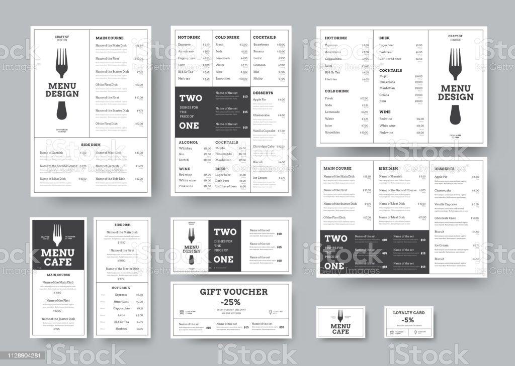 Einstellen des Menüs für Cafés und Restaurants im Stil klassischen weißen mit Unterteilung in Blöcke. - Lizenzfrei A4-Papier Vektorgrafik