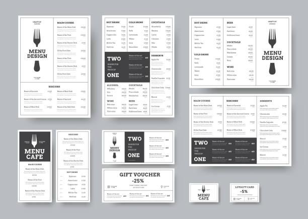 einstellen des menüs für cafés und restaurants im stil klassischen weißen mit unterteilung in blöcke. - restaurant stock-grafiken, -clipart, -cartoons und -symbole