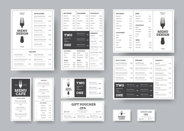 ilustrações de stock, clip art, desenhos animados e ícones de set of menus for cafes and restaurants in the classic white style with division into blocks. - ementa