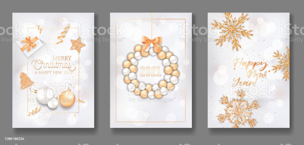 Merry Christmas & Happy New Year 2021 Banner Images Set Of Merry Christmas And Happy New Year 2021 Greeting Cards Elegant Flyer Poster Or Banner Design With Xmas Balls Stock Illustration Download Image Now Istock