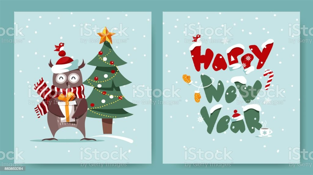 set of merry christmas and happy new year cards with cute owl christmas tree and