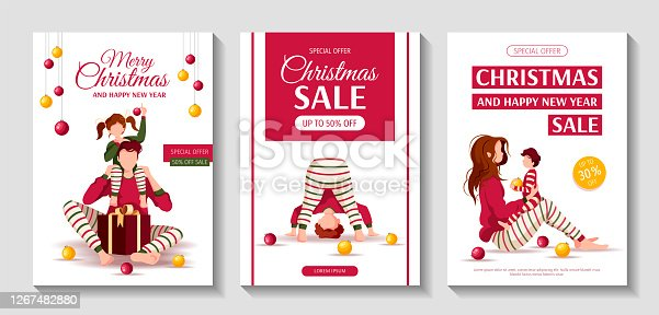 istock Set of Merry Christmas and Happy New Year flyers with people in similar clothes. Parents and children. 1267482880