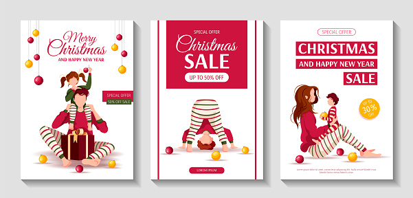 Set of Merry Christmas and Happy New Year flyers with people in similar clothes. Parents and children.