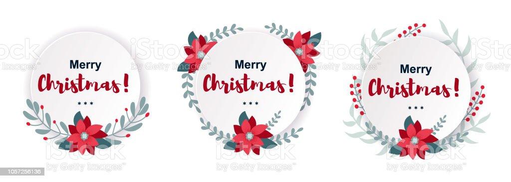 Etiketten Frohe Weihnachten.Satz Von Frohe Weihnachten Und Happy New Year Grußkarten Banner