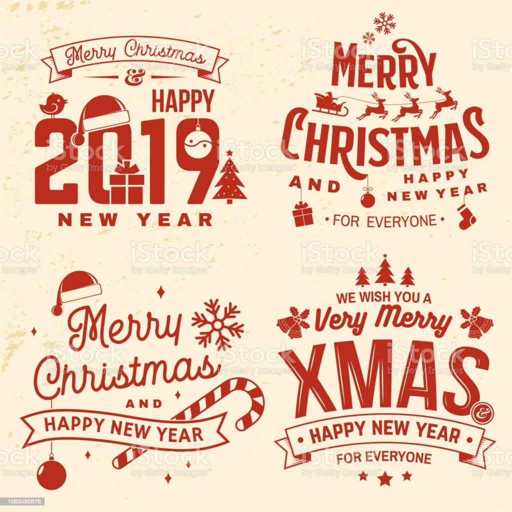 Set Van Vrolijk Kerstfeest En Gelukkig Nieuwjaar Stempel Sticker Set