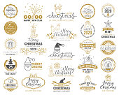 Set of Merry Christmas and Happy New Year stamp, sticker set with snowflakes, hanging christmas ball, santa hat, candy. stock illustration