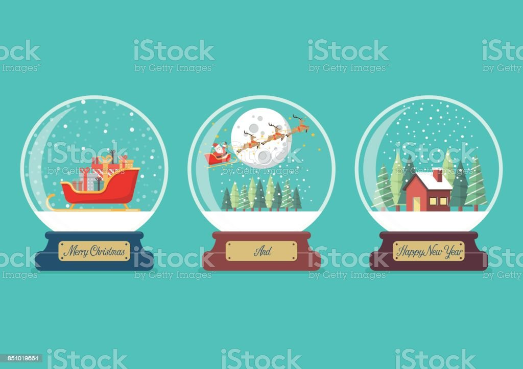 Sistema de colección de bolas de cristal Navidad - ilustración de arte vectorial