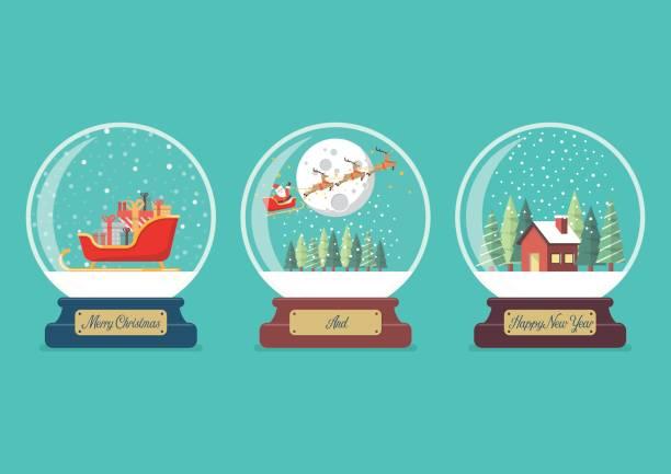 Set of Merry christmas glass ball collection vector art illustration