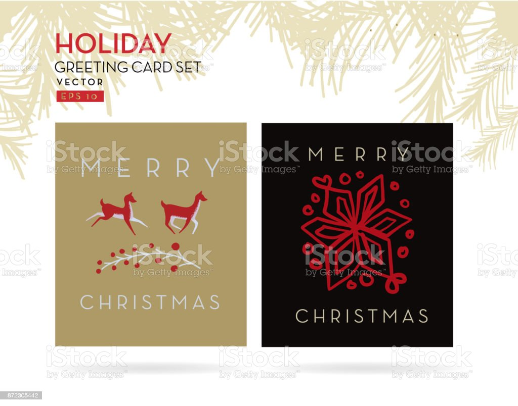 Set Of Merry Christmas Greeting Card Designs Stock Vector Art More