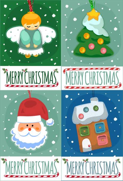 Ensemble de joyeux Noël carte postale des modèles. - Illustration vectorielle