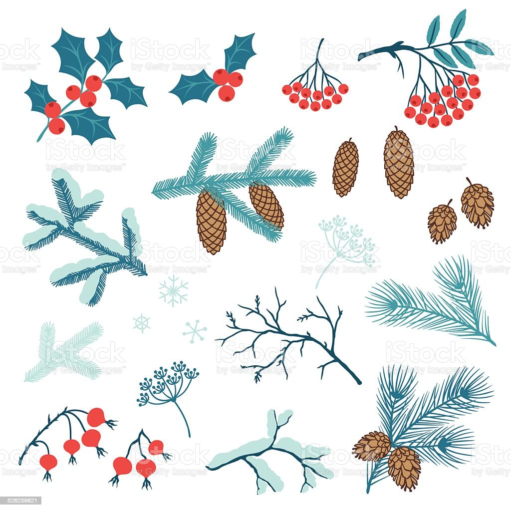 Set of Merry Christmas stylized winter branches. vector art illustration