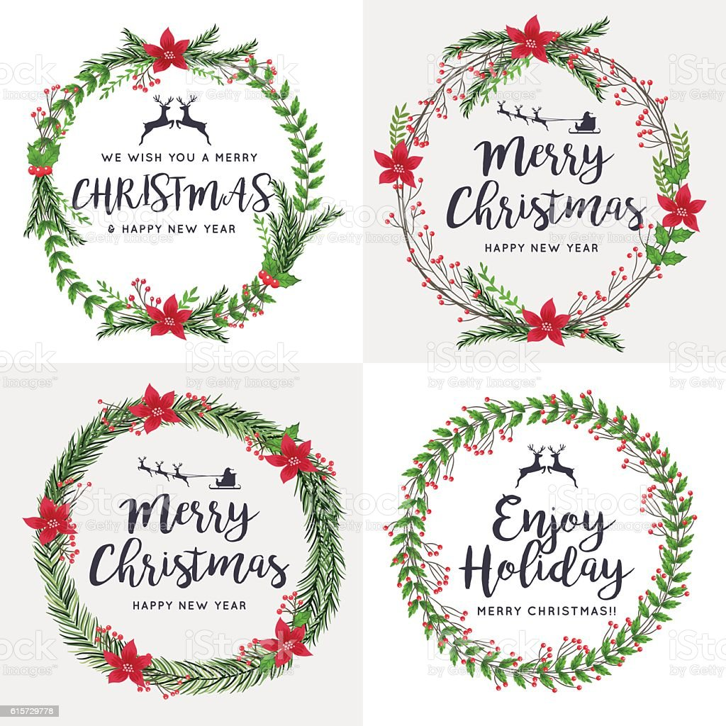 Set of merry christmas wreath flowers ornaments decorative