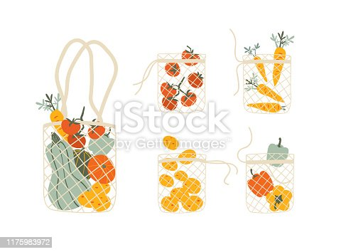 Set of Mesh eco bags full of vegetables isolated on white background.