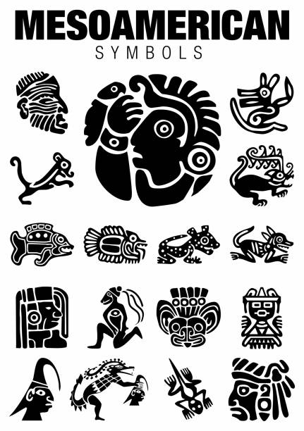 set of mesoamerican symbols in black color on white background - alejomiranda stock illustrations
