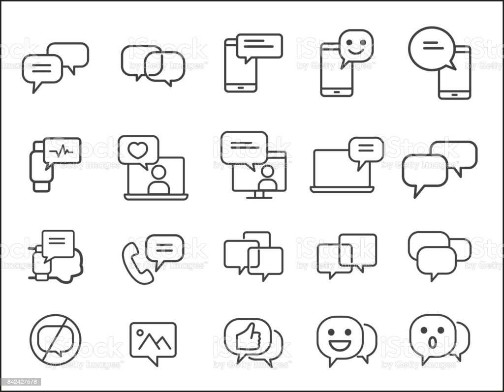 Set of Message Related. Simple Vector Line Icon. smartphone concept. Conversation, SMS, Notification, Group Chat and more.