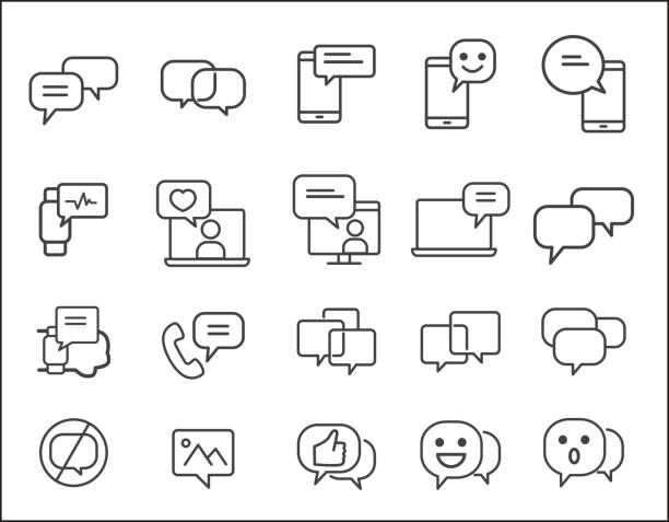 set of message related. simple vector line icon. smartphone concept. conversation, sms, notification, group chat and more. - rozmawiać stock illustrations