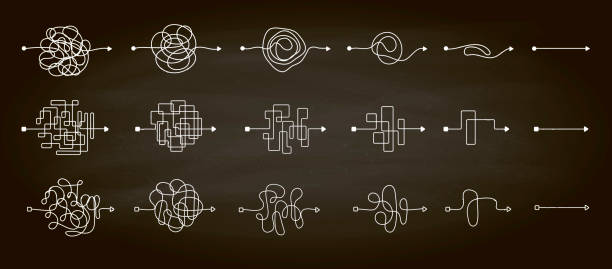 Set of messy clew symbols line of symbols with scribbled round element, concept of transition from complicated to simple, isolated on a chalkboard background Vector illustration. Set of messy clew symbols line of symbols with scribbled round element, concept of transition from the complicated to simple, isolated on a chalkboard background Vector illustration. knotted wood stock illustrations