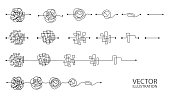 istock Set of messy clew symbols line of symbols with scribbled round element 1264128444