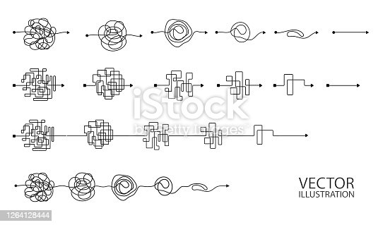 Set of messy clew symbols line of symbols with scribbled round element, consept of transition from the complicated to simple, isolated on white background Vector illustration.