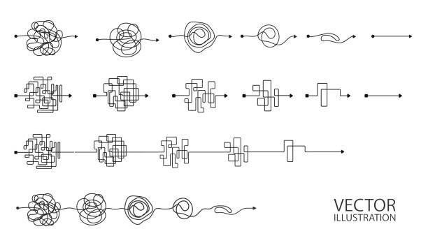 illustrazioni stock, clip art, cartoni animati e icone di tendenza di set di simboli di chiave disordinati linea di simboli con elemento rotondo scarabocchiato - semplicità
