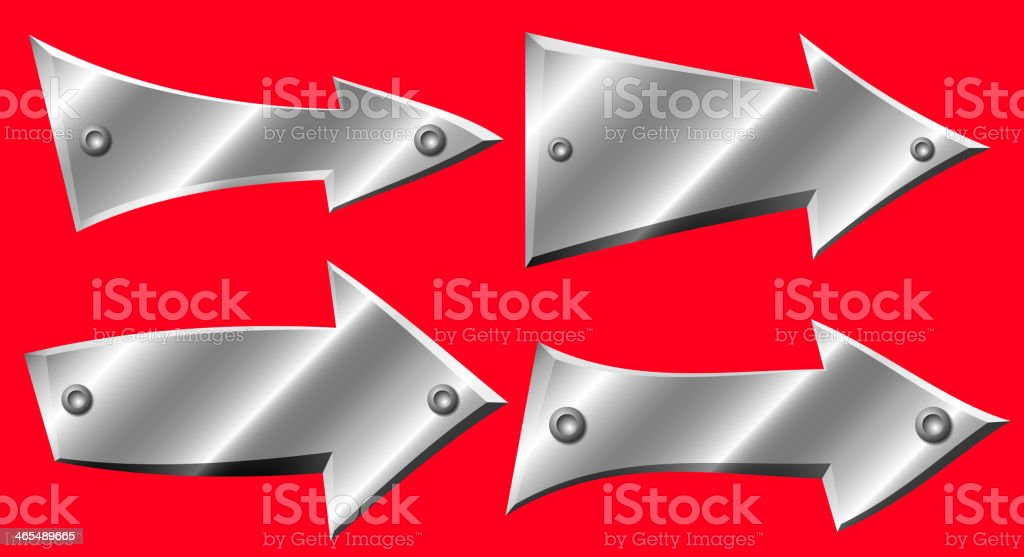 Set of metal arrows with rivets royalty-free stock vector art