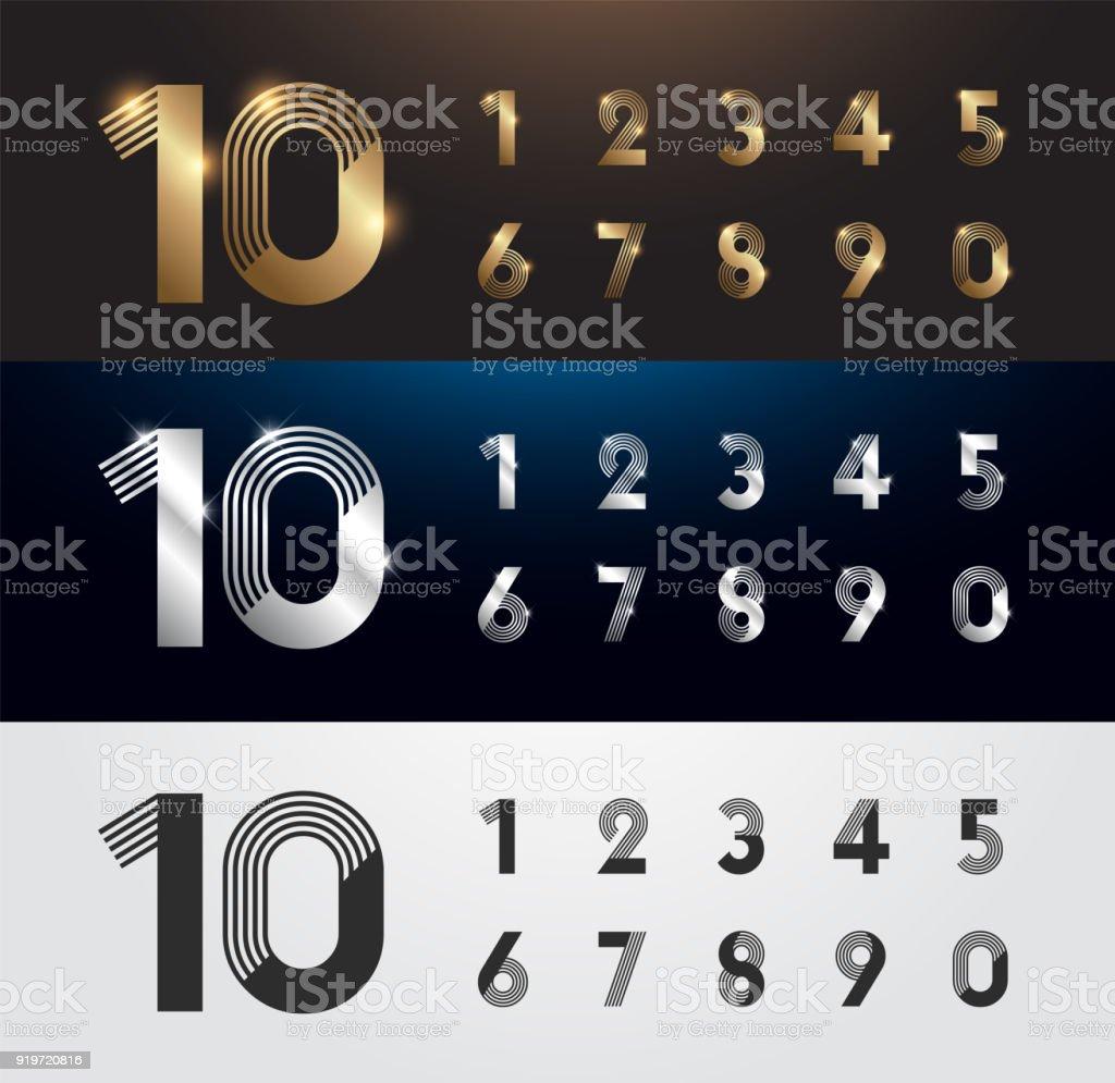 Conjunto de metal número. Vetor de números de prata, ouro e pretos. 1, 2, 3, 4, 5, 6, 7, 8, 9, 10. alfabeto tipográfico texto efeito da luminescência. ilustração vetorial - ilustração de arte em vetor