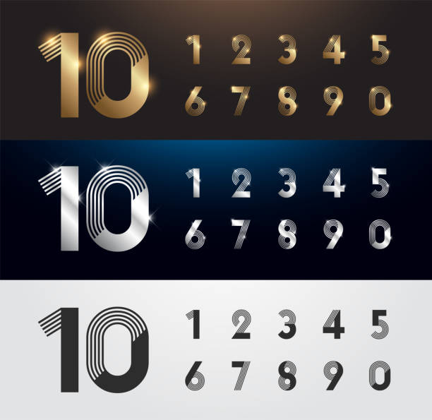 Set of metal number. Vector silver, gold and black numbers. 1, 2, 3, 4, 5, 6, 7, 8, 9, 10. alphabet typeface glowing text effect. vector illustration Set of metal number. Vector silver, gold and black numbers. 1, 2, 3, 4, 5, 6, 7, 8, 9, 10. alphabet typeface glowing text effect. vector illustration number stock illustrations