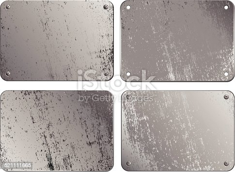 Set of metal plates ; eps8;  linear gradient used; no transparency effects were used;  zip includes aics2, high res jpg; each object is on its own layer