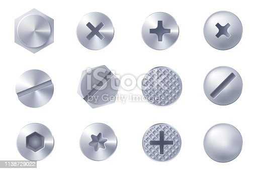 Set of metal screw heads isolated on white background. Collection of different heads of bolts, screws, nails, rivets. View from above. Decorative elements for your design. Vector eps 10.