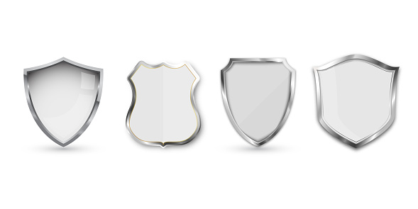 Set of metal shield isolated on white background.